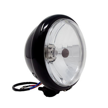 "Motorcycle Supply Co. 5.75"" Clear Lens Black Headlight"