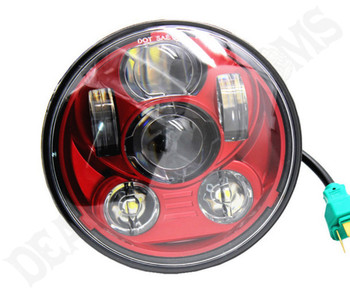 "Motorcycle Supply Co. Red 5.75"" LED Headlight"