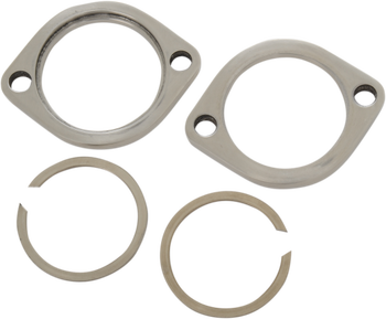 Drag Specialties Exhaust Flange Kit for Harley Evo Big Twin 1984-Up Polished Steel Finish