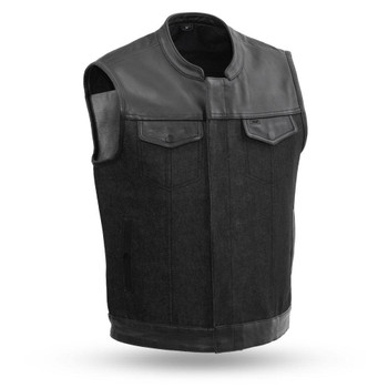 First Mfg 49/51 Denim/ Leather Combo Vest