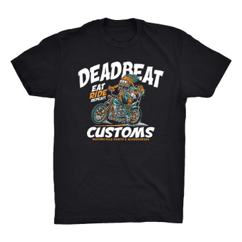 Deadbeat Customs Eat, Ride, Repeat T-Shirt - Black