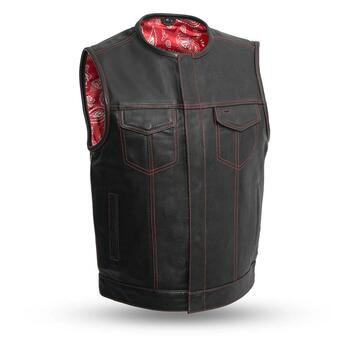 First Mfg - Bandit Leather Vest - Red Stitching/ Liner