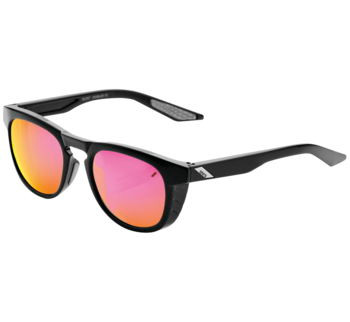 100% Slent Sunglasses Black w/ Purple Mirror Lens