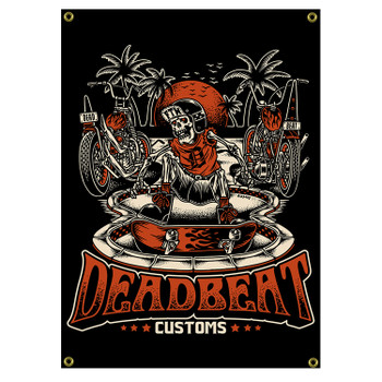 Deadbeat Customs - Forever Six Wheels 4' X 2' Shop Banner