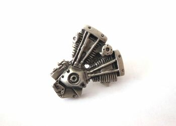 V-Twin Shovelhead Lapel Pin - Silver Patina