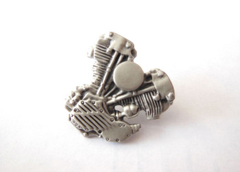 V-Twin Knucklehead Lapel Pin - Silver Patina