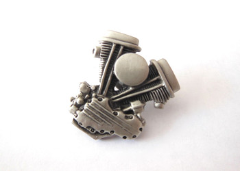 V-Twin Panhead Lapel Pin - Silver Patina