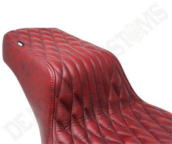 Deadbeat Customs Throne Harley Dyna Seat fits '06-'17 FXD - Moroccan Red Leather