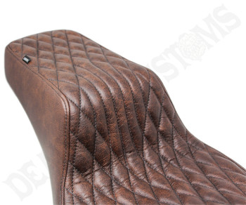 Deadbeat Customs Throne Harley Dyna Seat fits '06-'17 FXD - Old Ranch Brown Leather