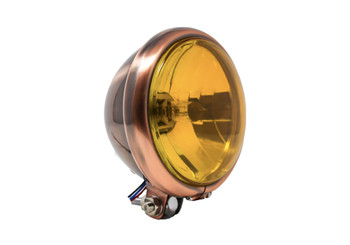 "Motorcycle Supply Co. 5.75"" Yellow Lens Copper Headlight"