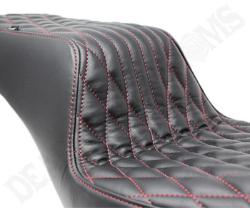 Deadbeat Customs Throne Harley Dyna Seat fits '06-'17 FXD - Black Leather/ Red Stitch