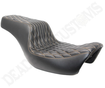 Deadbeat Customs Throne Harley Dyna Seat fits '06-'17 FXD - Black Leather/ Gold Stitch
