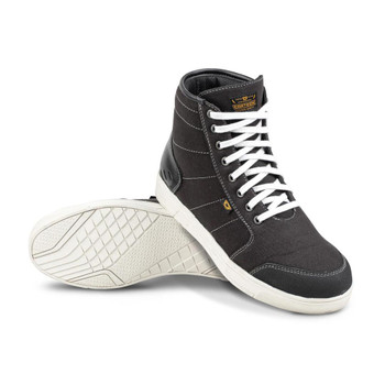 Cortech The Casual Canvas High-Top Riding Shoe - Black/ White