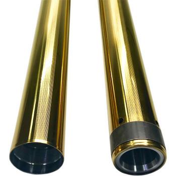 "Pro-One 49MM Gold Coated Harley Fork Tubes - 2"" Over 25.5"""