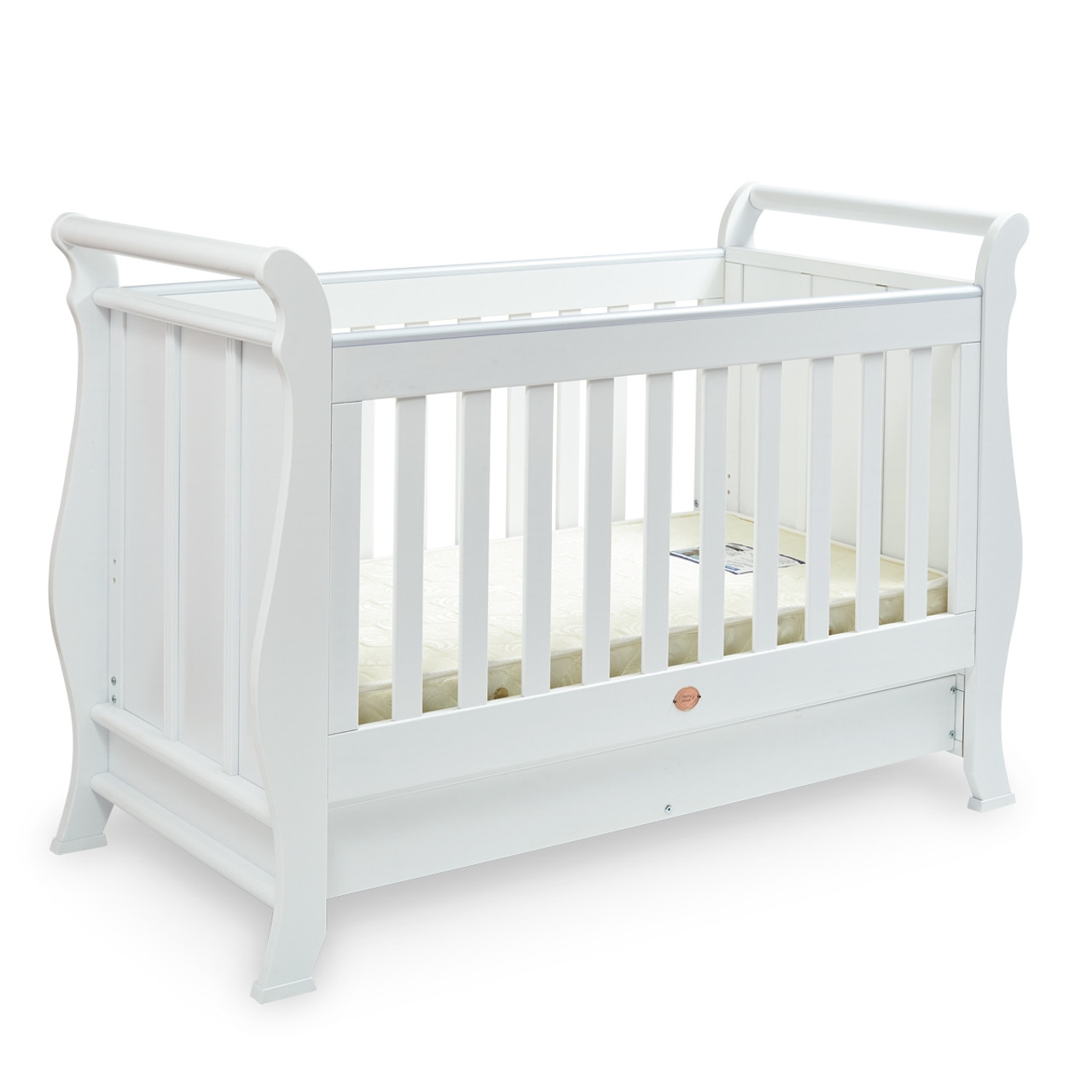 - Super Nanny 4 In 1 Classic Sleigh Cot Bed - White -Babies NZ