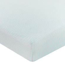 Buy  Living Textiles Jersey Cot Fitted Sheet - Aqua Stripe Online at  Babies