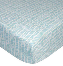 Lolli Living Fitted Cot Sheet - Aqua Herringbone
