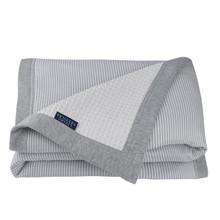 Living Textiles Cot Waffle Blanket - Grey Stripe