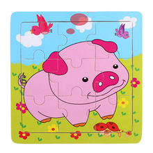 Animals 9pc wooden puzzle set - Pig