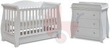 Super Nanny 4 in 1 Regal Sleigh Cot Bed with Dresser - White