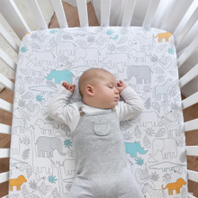 Living Textiles Jersey Cot Fitted Sheet - Urban Safari