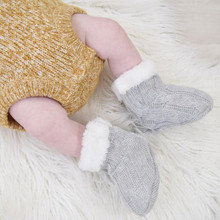Living Textile Cable Knit Sherpa Booties
