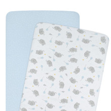 Living Textiles Jersey Bassinet Fitted Sheets - Blue Dots (2pk)