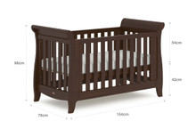 Sleigh Expandable Cot Bed - Coffee