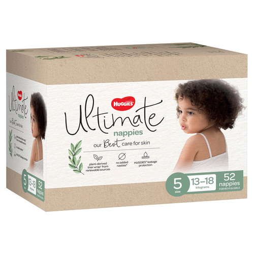 Huggies Ultimate Size 5 Walker Nappies Unisex - 52s