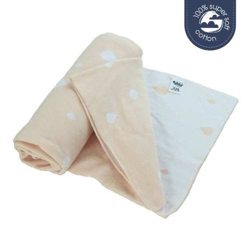 Ecosprout Reversible Cotton Cot Blanket - Raindrop Blush