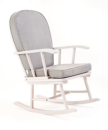 Ellie White Rocking Chair with Grey Cushion