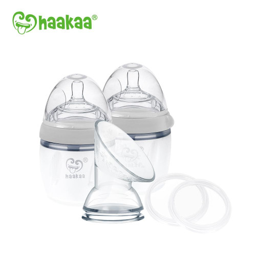 Haakaa Gen 3 Silicone Pump and Bottle Pack - Grey