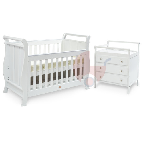 Super Nanny 4 in 1 Classic Sleigh Cot Bed with Dresser - White