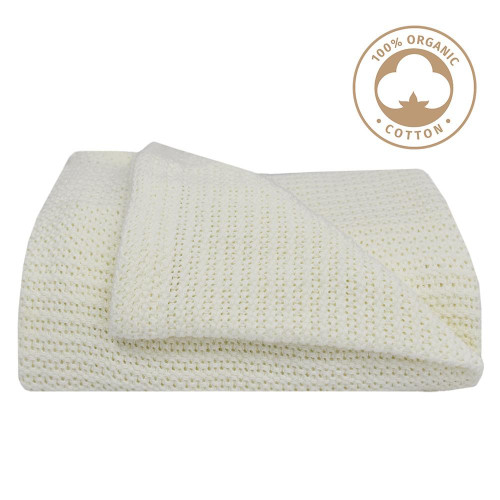 Living Textiles Organic Cot Cellular Blanket - Natural White