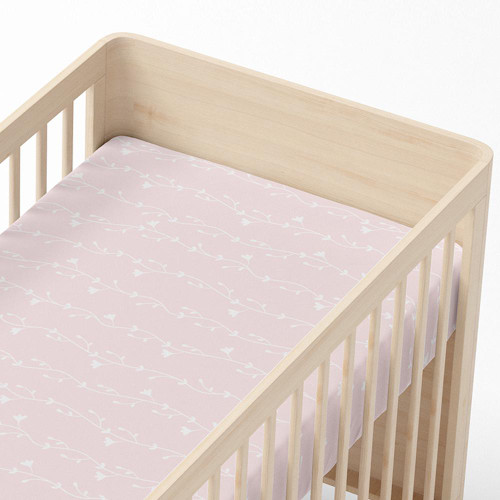 Living Textiles Jersey Cot Fitted Sheet -  Floral Vine