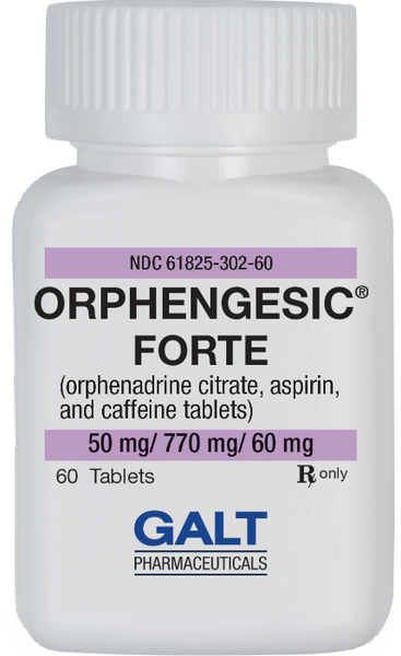 Orphengesic Forte 60 count Bottle for the treatment of mild to moderate pain