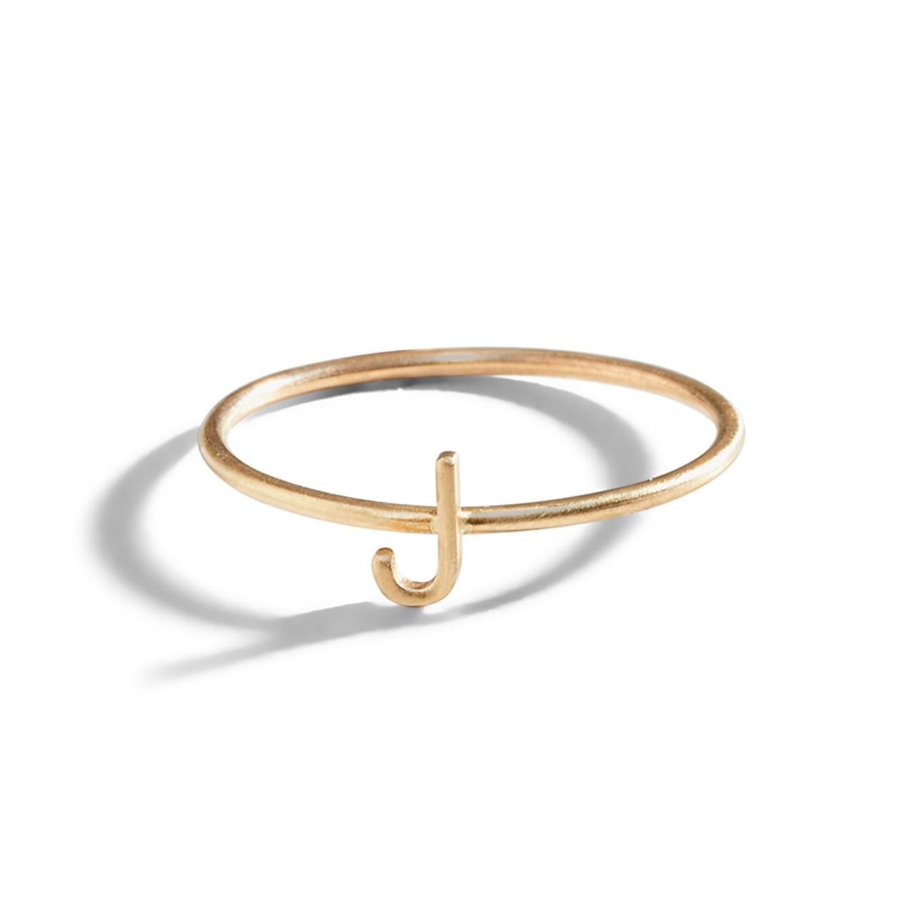 Gold Initial Letter Ring | Alphabet Letter Ring