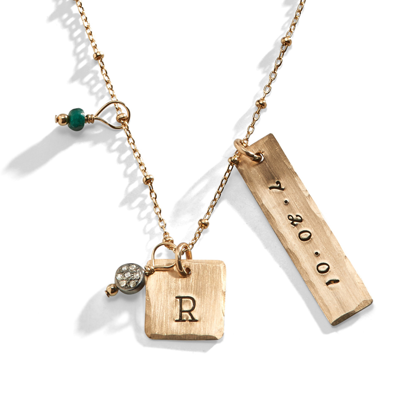 Hand Stamped Triple Rectangle Tag Mini Initial Necklace