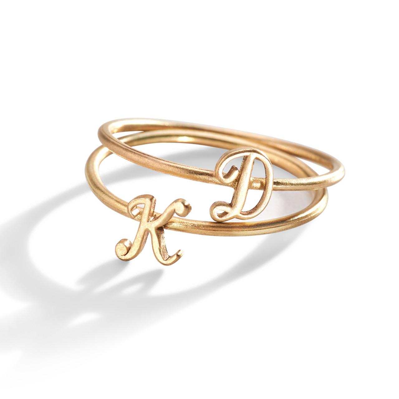 Script Initial Letter Ring | 14K Gold Letter Ring