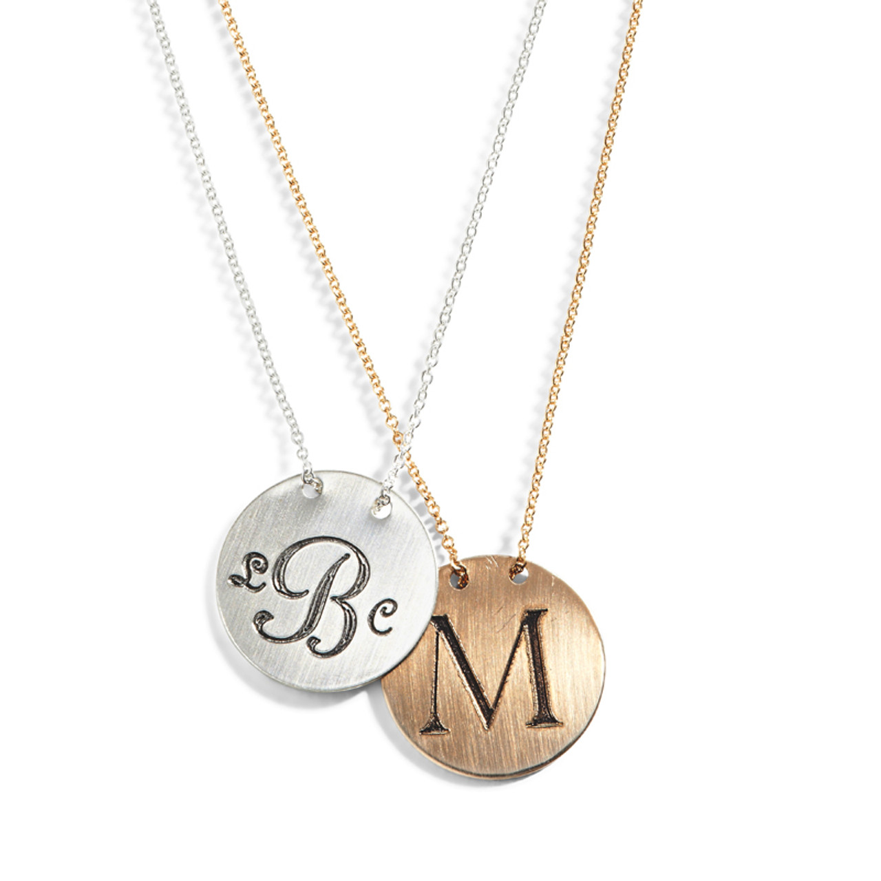3c21cafcae6198 Personalized Engraved Monogram Necklace | Custom Monogram Jewelry