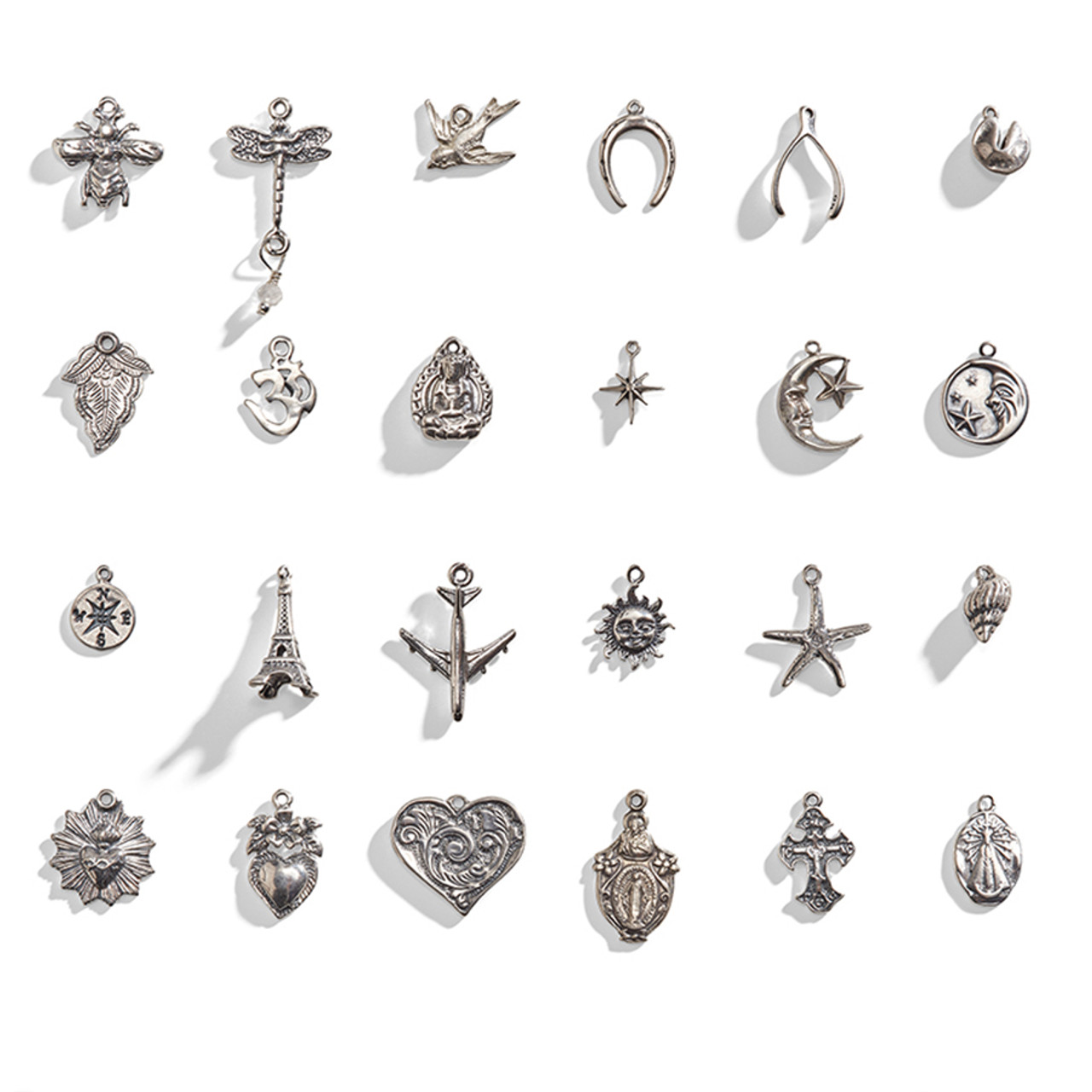 925 Sterling Silver 4 Leaf Charms 10x17mm.