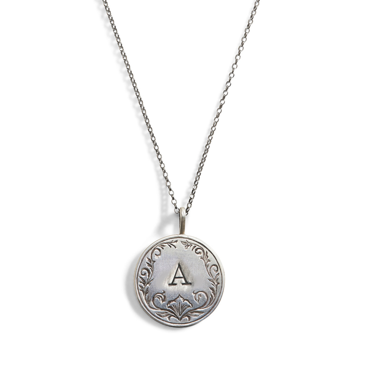 fc87454b1cac Scrolled Token Engraved Charm Necklace