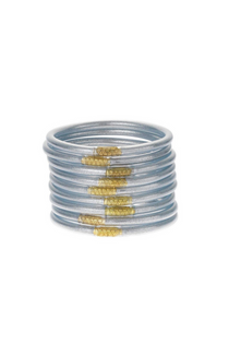 All Weather Bangles Set Of 9- Silver