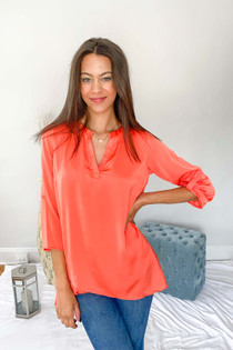 Woven Collarless Blouse Coral