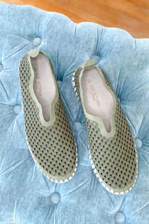 Tulip Slip On With White Sole - Deep Olive Plain