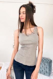 Babette Silk Top - Grey