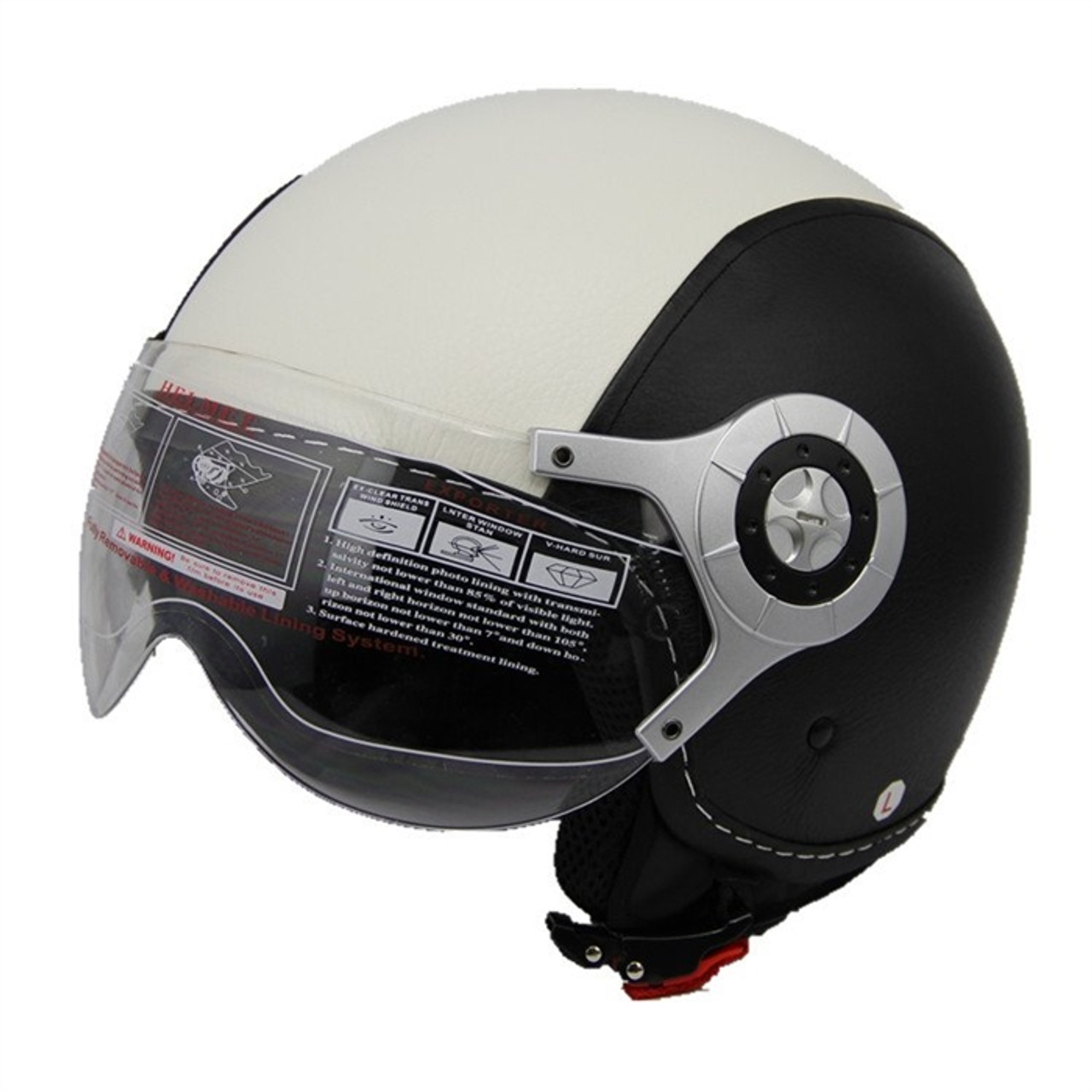 AMZ LEATHER BLACK&WHITE OPEN FACE HELMET