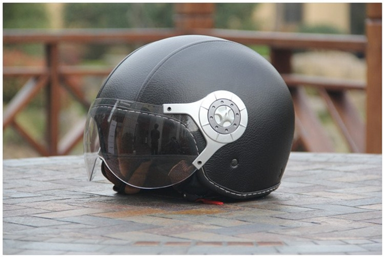 AMZ LEATHER BLACK OPEN FACE HELMET