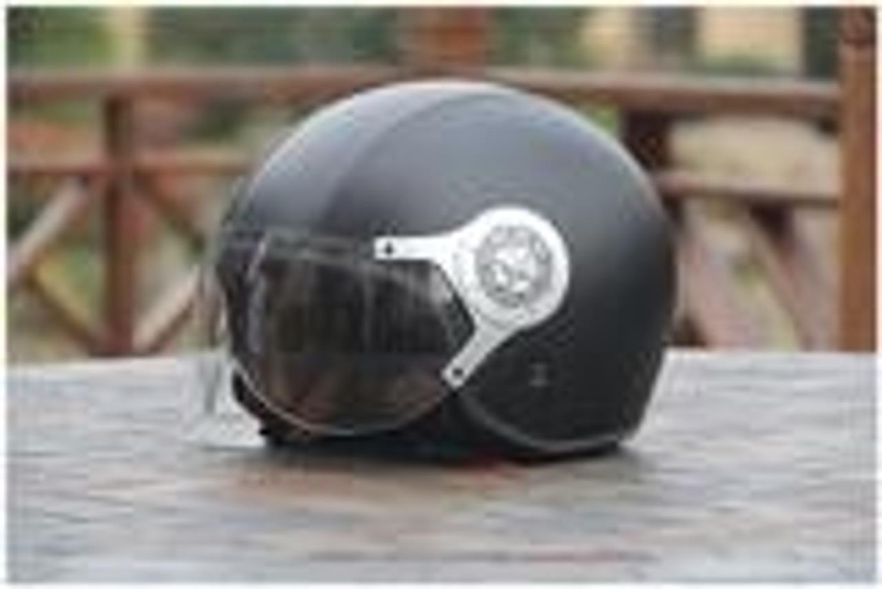 Amz Leather Black Open Face Helmet