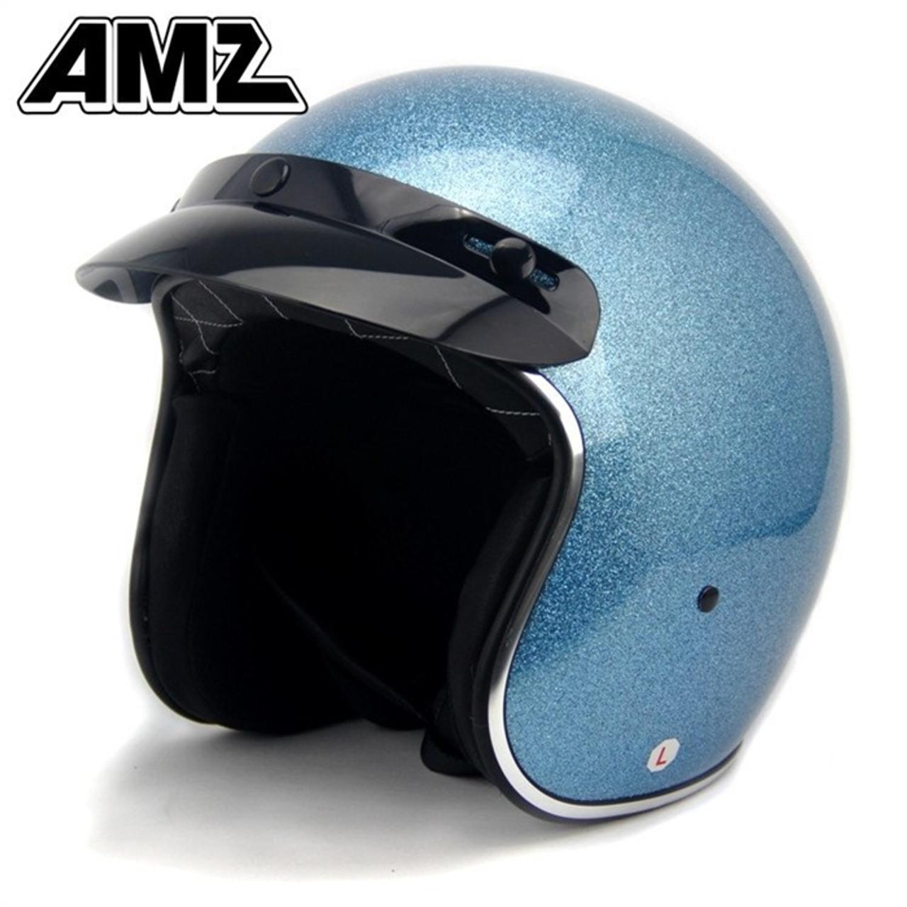 AMZ SHINNING BLUE VINTAGE OPEN FACE HELMET